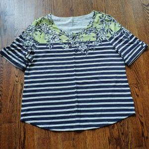 NWOT Talbots Striped Floral Short Sleeve Blouse